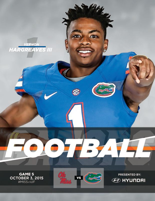 The official @floridagators Football Roster Card vs. Ole Miss Football, October 3, 2015. Cover features Vernon Hargreaves III. #ItsGreatUF #UFFootball