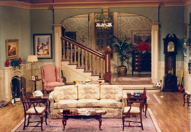 Setting for scenes 3 4 and 5 a rich 1980 39 s living room for 90s room design