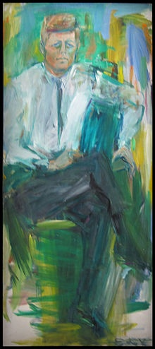 John F. Kennedy 1963, by Elaine de Kooning, wife of abstract expressionist Wilem de Kooning, coined the term 'Abstract Impressionism'. She was known as a New York Figurative Expressionist, as you can see here, but the term she coined has a nicer ring to it, which is why I'm using it here. She was also an editorial associate for Art News magazine, a prominent Fine Arts periodical still going today.