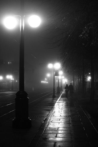 I love the fog & the black & white film noir quality of this photo...very sinister. Never know what will come out of the fog!