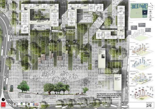 Resultados Concurso Vivienda de Interés Prioritario en la Plaza de la Hoja,Courtesy of Segundo Lugar