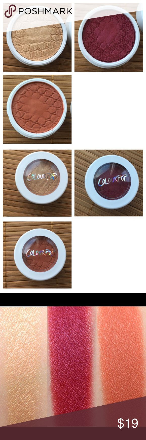 3 Colourpop Eyeshadows Shades are Jinxie, Paradox, and Elixir. Swatched only once. ❗️No trades❗️Bought fresh from the Colourpop store. Just not my shades. There are individual listings for these, but the bundle is cheaper. Colourpop Makeup Eyeshadow