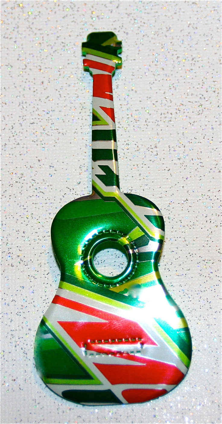 SET of TWO----Recycled Soda Can Art- Small - - Guitar Magnet  -. $4.25, via Etsy.