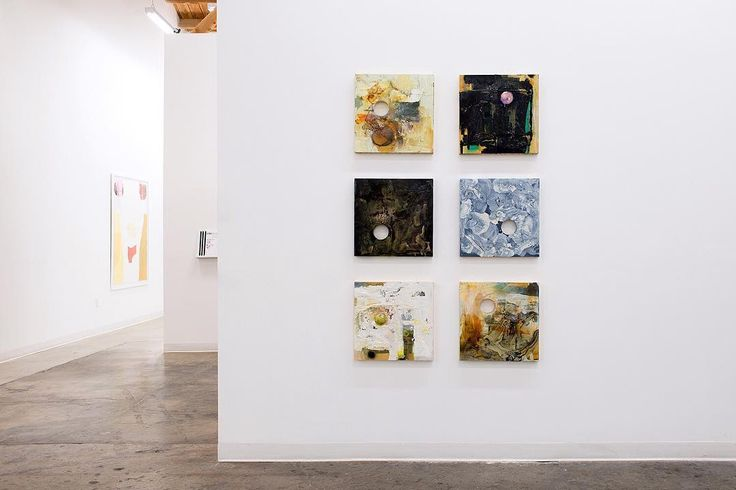 A grouping of 6 Kevin Larmon paintings each at 18 x 18. Part of the 2 person exhibition Lisa Beck & Kevin Larmon: Where I End You Begin on view at CB1 Gallery. .  http://cb1.co/8e . For over three decades Kevin Larmon has received critical acclaim for cre