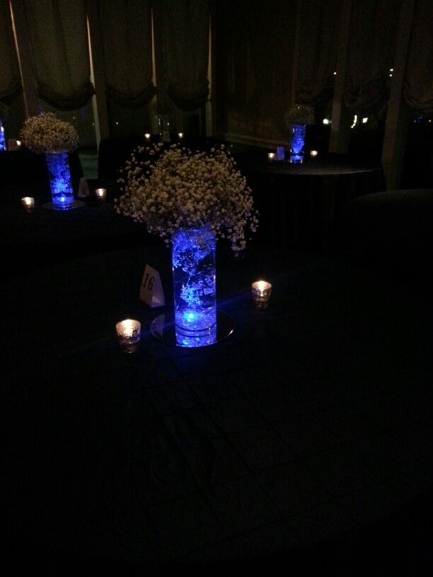 Blue LED Submersible Lights in Baby's Breath Centerpieces #AgapeAffairs