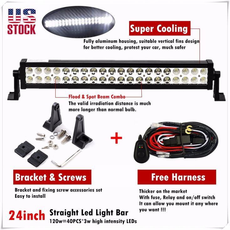 24 inch 120w Led Light Bar Spot Flood Combo Work Boat UTE Truck SUV ATV 4WD 20