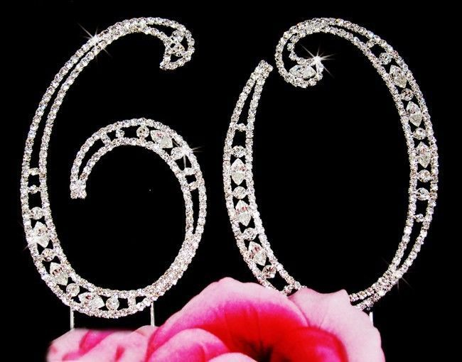 Large Rhinestone Crystal 60th Birthday / Wedding Anniversary Number Cake Topper