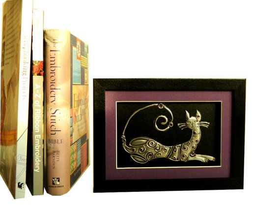 Metal Art Sculpture Framed Pewter Cat Black and Purple by Loutul, £18.00