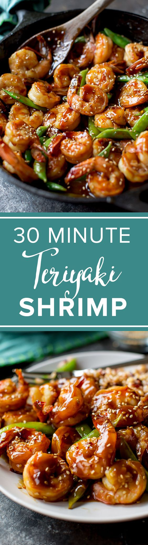 Teriyaki shrimp in only 30 minutes! Quick easy weeknight dinner recipes! Recipe on Sally's Baking Addiction http://sallysbakingaddiction.com/2016/08/15/30-minute-teriyaki-shrimp/