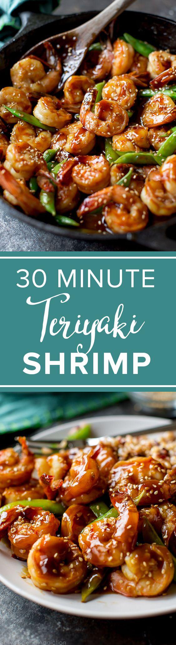 Teriyaki shrimp in only 30 minutes! Quick easy weeknight dinner recipes! Recipe on Sally's Baking Addiction http://sallysbakingaddiction.com/2016/08/15/30-minute-teriyaki-shrimp/