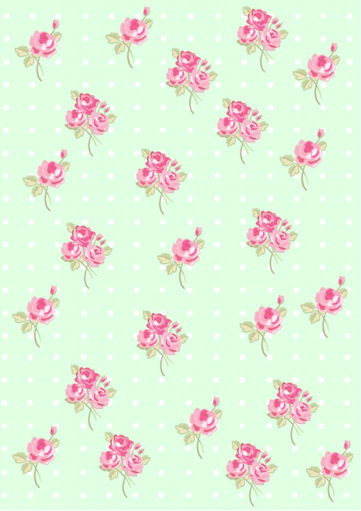 Floral Shabby chic pattern paper green e0ffe2