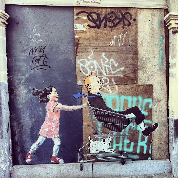 rate de rua. Artista Ernest Zacharevic