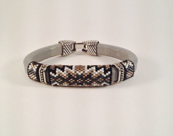 Shades of Grey Licorice Leather Bangle by Calisi on Etsy, $50.00