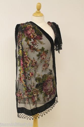 New Ladies Womens Velvet Designer Floral Patterned Beaded Scarf Wrap Shawl Stole | eBay