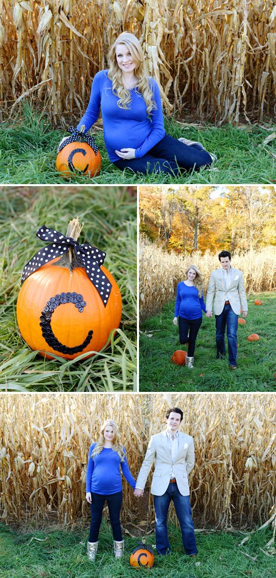 Fall Maternity Photos  - cute idea with buttons on pumpkin