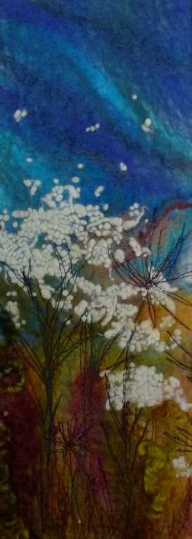 Cow Parsley   -   Threlfall's Art Studio | Silk Paintings | Felt Paintings | Acrylics | Caren and Pete | Country, Town and Seascapes | Workshops |