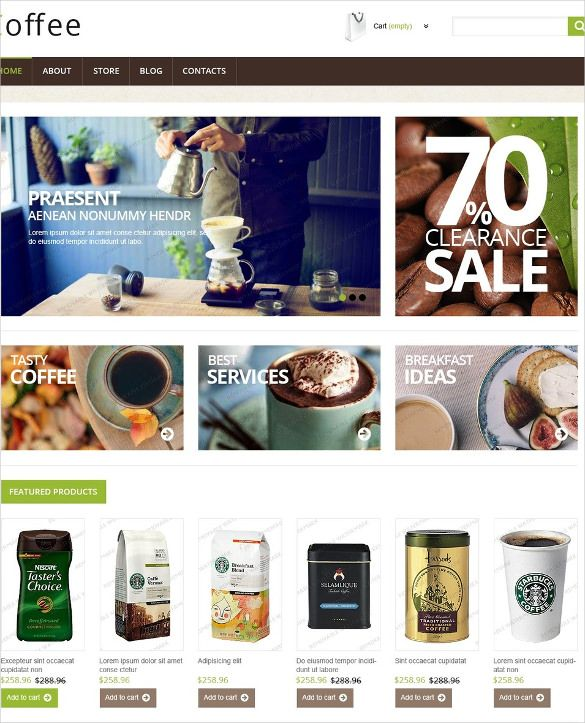 The free coffee shop jigo shop HTML 5 template is a beautifully designed jigo shop theme template that uses a classy look to create the best coffee shop website.