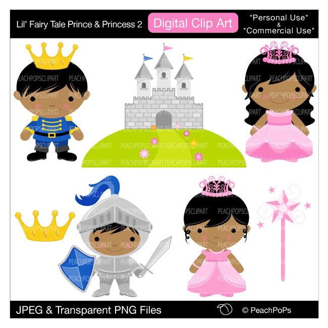 cute clip art digital clipart prince princess knight castle original - Lil Fairy Tale Prince and Princess 2 - Personal Commercial Use. $5.00, via Etsy.