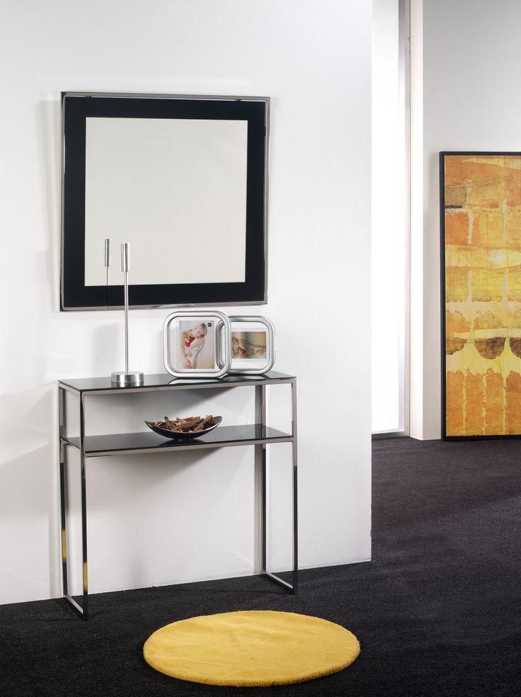 Cosola y Espejo mod. Albany en acero inoxidable , el color de los cristales pueden variar a petición del cliente
