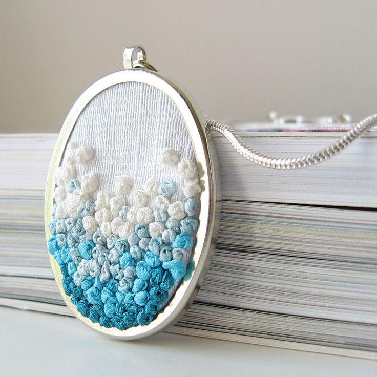 Aqua Ombre Necklace silk ribbon embroidery