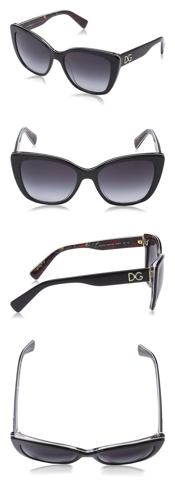 $137.04 - D&G Dolce & Gabbana Women's 0DG4216 Square Sunglasses Black on Printing Roses Grey Gradient #dolceegabbana