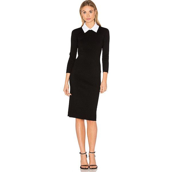 Trina Turk Bookish Sweater Dress (1.080 BRL) ❤ liked on Polyvore featuring dresses, trina turk, contrast collar dress, ribbed sweater dress, trina turk dresses and ribbed dress