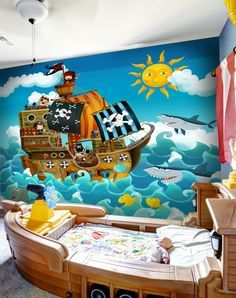 Create the ultimate pirate themed bedroom for your little one with a pirate wallpaper mural. Great for a children's bedroom, this pirate mural can create adventure. Visit our website for more children's wallpapers