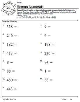Roman Numerals: Convert Numbers to Roman Numerals Worksheet 3 of 7