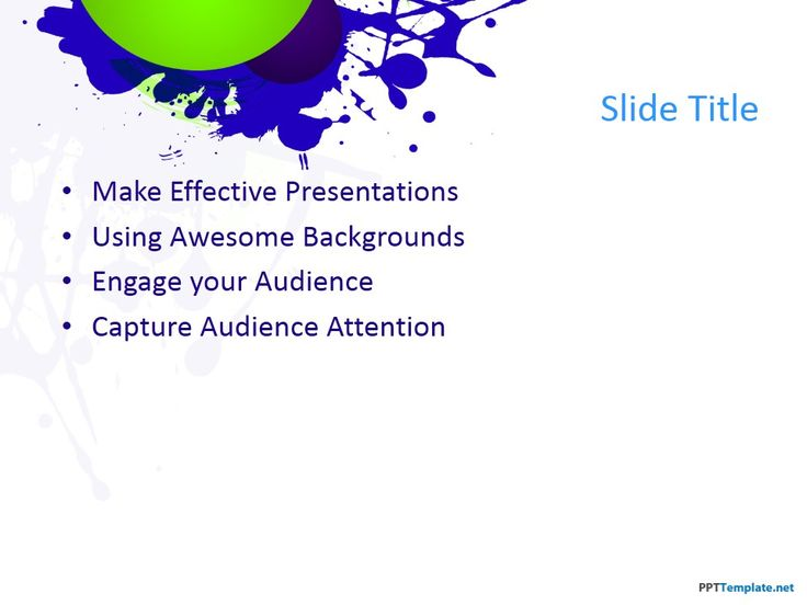 Make a bold impression on the audience with this splatter theme of blue and green using Microsoft PowerPoint 2013 PC, and PowerPoint 2010 Mac and PC