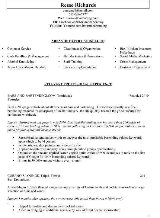 Bar Manager Resume Sample