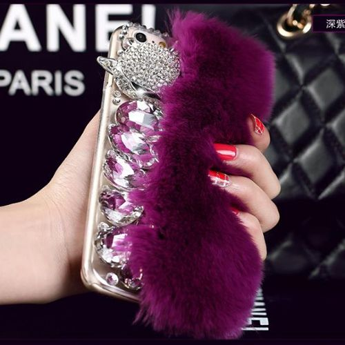 Cute 3D Luxury Rabbit Fur Mannual Diamond Fox Coque Case for iPhone 5s 6 6S 7 Plus Xiaomi redmi note 2 3 Xiaomi mi 5 max