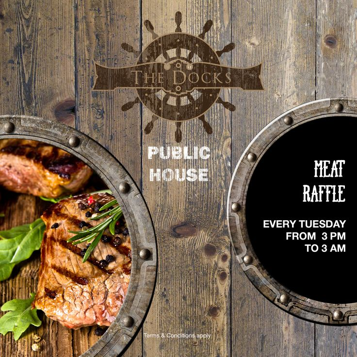 Tuesday Meat Tray Raffle at The Docks!  The traditional meat raffle is here to stay. Grab a raffle ticket at the pub to be in with a chance to win.  #Food #Beverages #Eat #Drink #Offer #Specials #Promotions #Discount #Dubai