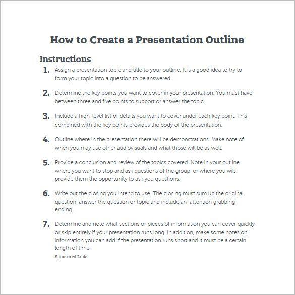 Presentation Outline Template Presentation Topics Interesting