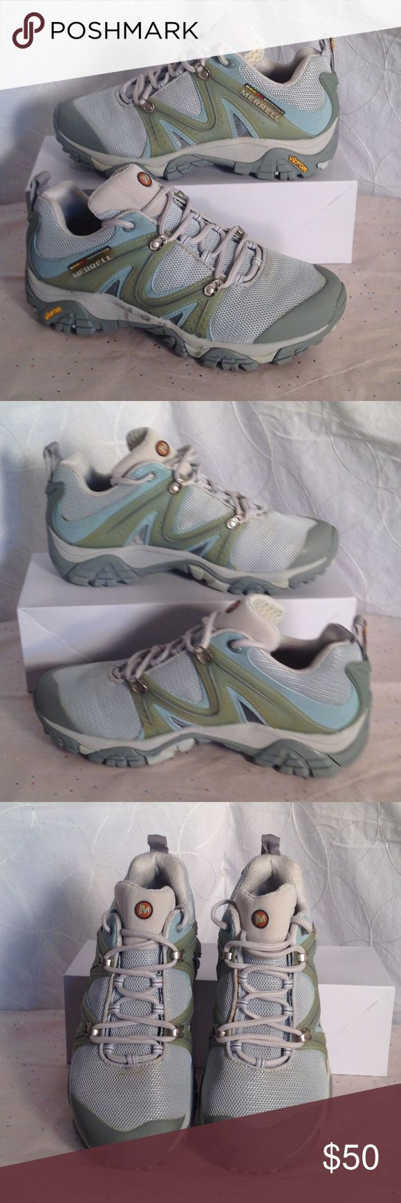 Merrell Reactor Hiking Shoes Sky Blue w/ green & grey. Reactor Ventilator Continuum Hiking shoe w/ Padded tongue...Removable Air Cushion Insole & Vibram outsole for excellent grip! Worn Once! Make me an Offer OR Bundle & Save! Merrell Shoes Athletic Shoes
