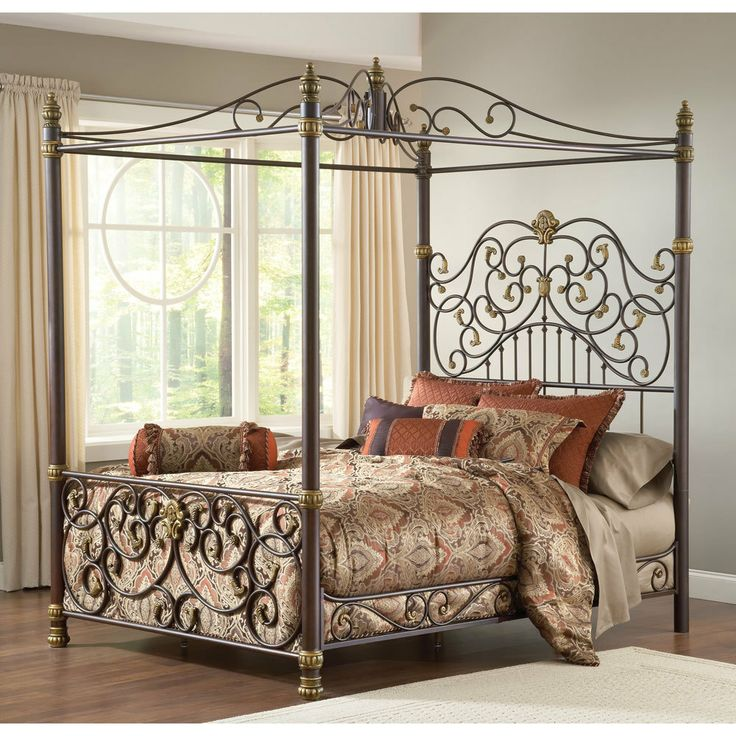 Stanton iron canopy bed by hillsdale furniture wrought for Brass canopy bed frame