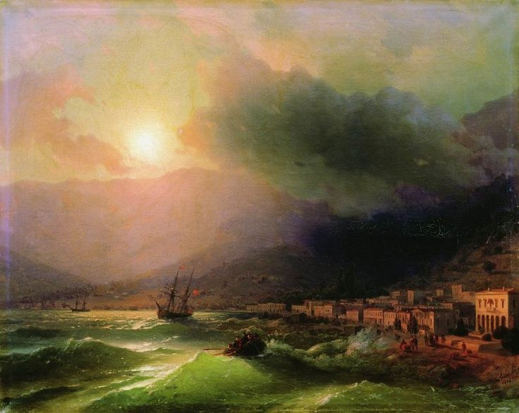 Приморский город. Вид Ялты 1866 61,5х78. Иван Константинович Айвазовский