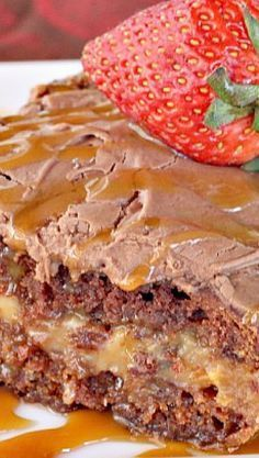 Turtle Cake Recipe ~ German chocolate cake is filled with a creamy caramel layer, chocolate chips and pecans, then frosted with a luscious chocolate marshmallow frosting. This is one sensational cake!