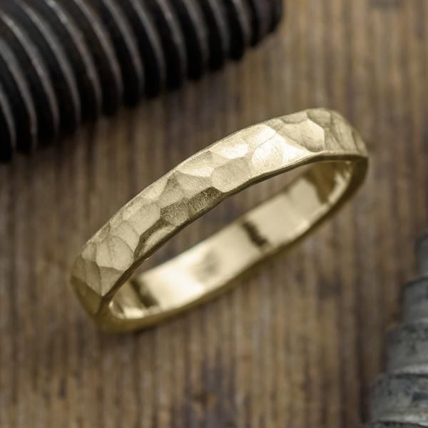 4mm 14k Yellow Gold Mens Wedding Ring, Hammered Matte