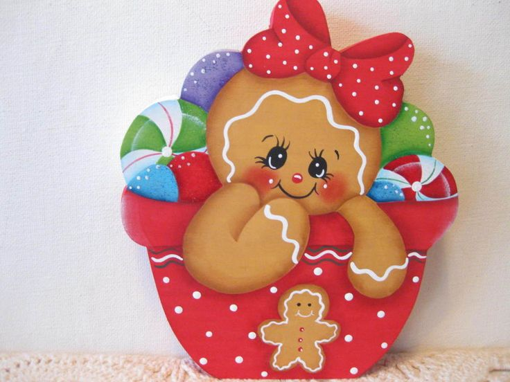HP Gingerbread Christmas ginger and candy SHELF SITTER hand painted USA