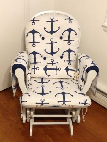 A little overboard ('scuse the pun) but had to share.    Nautical Nursery Chair.