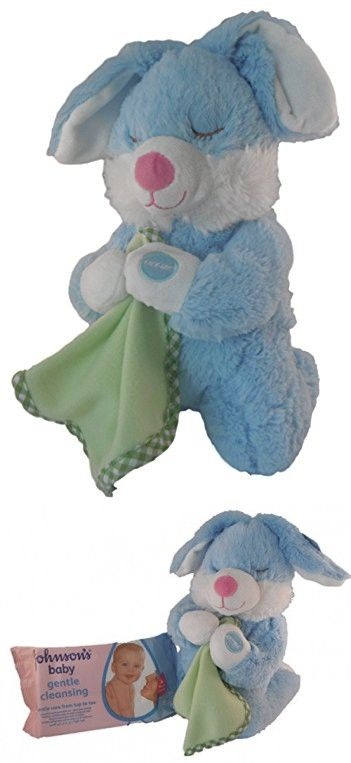 Jesus Loves Me Plush Bunny and Baby Wipes Bundle - 2 Items: Singing Bunny and Pack of Johnson and Johnson Baby Wipes (Blue Bunny with Blanket)
