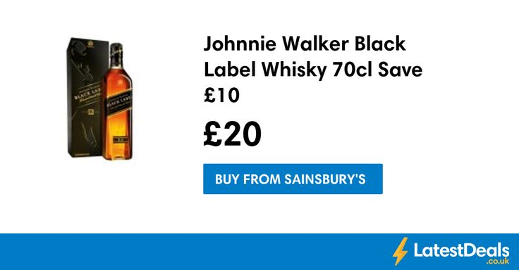 Johnnie Walker Black Label Whisky 70cl Save £10, £20 at Sainsbury's