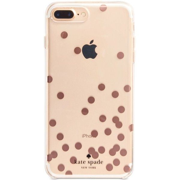 kate spade new york Confetti Rose Gold Foil iPhone 7 Plus Case (1,555 DOP) ❤ liked on Polyvore featuring accessories, tech accessories, clear multi and kate spade