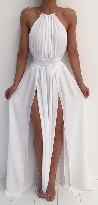 New Arrival White Chiffon Prom Dress,Sexy Slit Prom Dress,Long Evening Dress,Backless Evening Gown