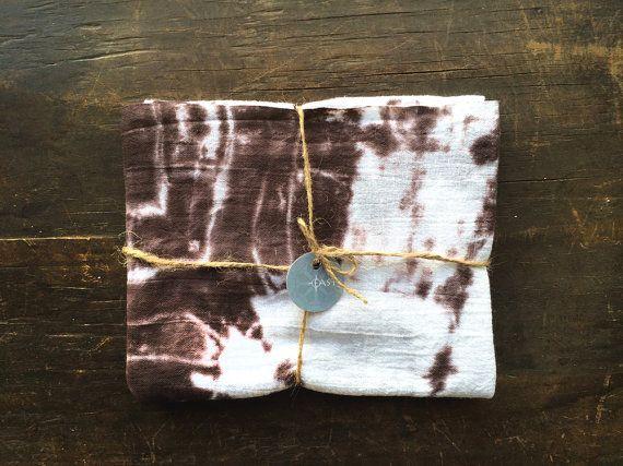 shibori tea towel brown tea towel hostess by WyomingCreativeEast