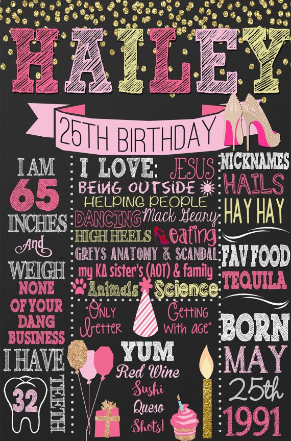 Adult birthday chalkboard style adult by CustomPrintablesNY