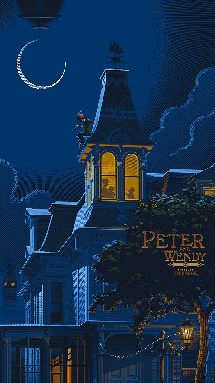 """Peter and Wendy by J.M. Barrie: alternative #book cover by Laurent Durieux; """"All the world is made of #faith, and trust, and pixie dust."""" #quote #books ♥ #art #illustration #PeterPan #TinkerBell #WendyDarling #KeepReading"""