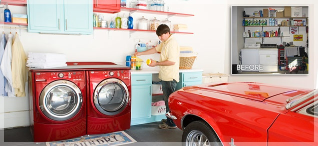 """LOWES - Interlocking foam mats transform a garage laundry area into """"inside space"""". Also shelves/cabinets."""