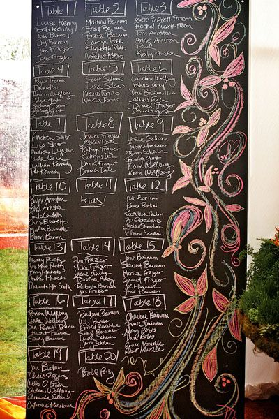 Purchasing a tall, freestanding chalkboard is a budget-friendly alternative to individual escort cards. Handwrite each name and include a colorful illustration for a whimsical touch. Looking for a larger size than what is readily available