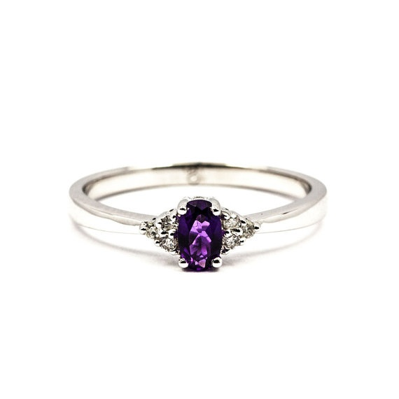 Like this style/arrangement.  Leo 18K White Gold Amethyst and Diamond by DiamondBoutiqueUK, £330.00